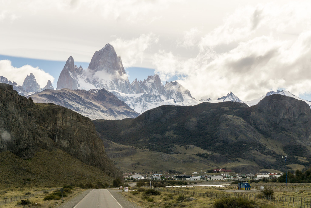 The town of El Chalten as seen from our bus