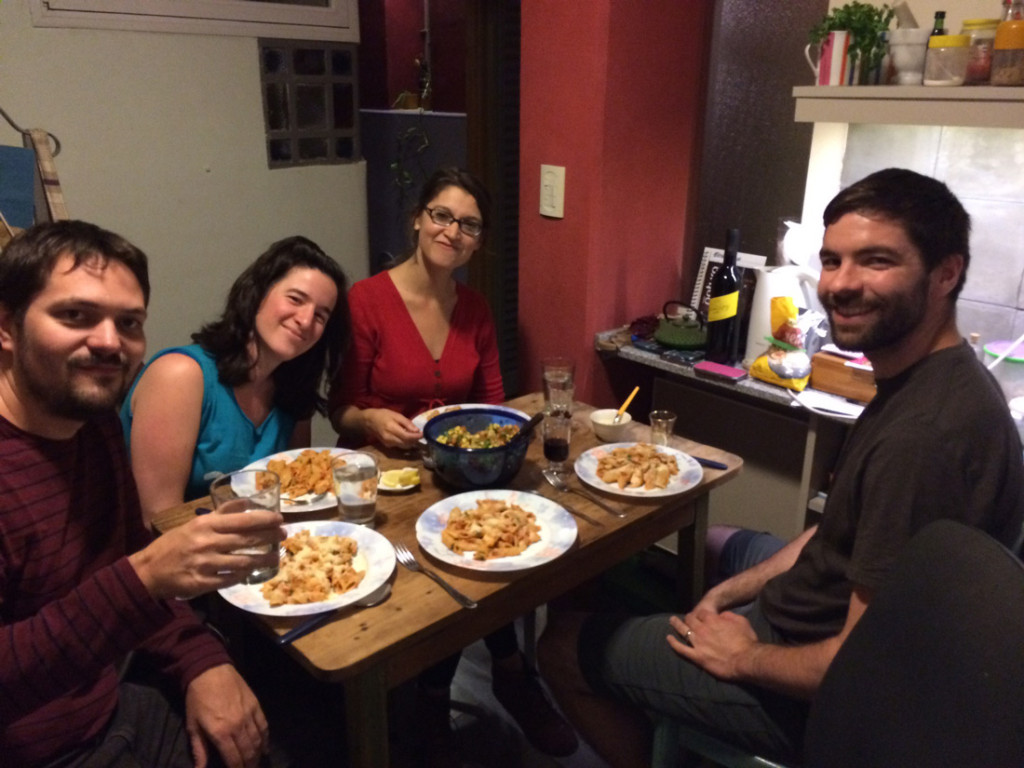 Enjoying our Vodka a la Penne with friends.