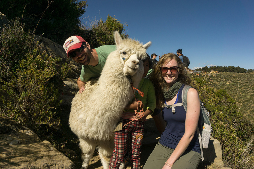 Posing with an alpaca along our trek. So cute, but as I would find out later, so tasty (sorry, kids).