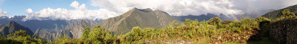Rainbow over Llaqtapata and Machu Picchu