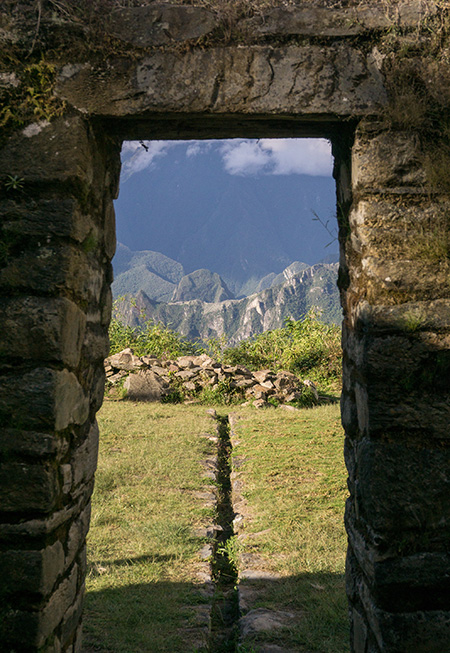 Llaqtapata's orientation and the view from this sun gate to Machu Picchu suggests it was an important shrine to the Incas
