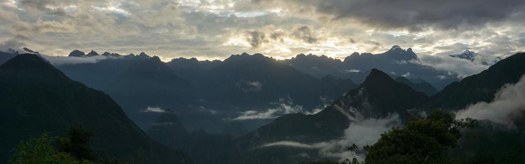 Sunrise over Machu Picchu from Llaqtapata.