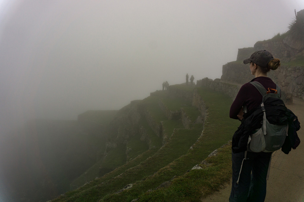 Danielle unimpressed with foggy Machu Picchu.