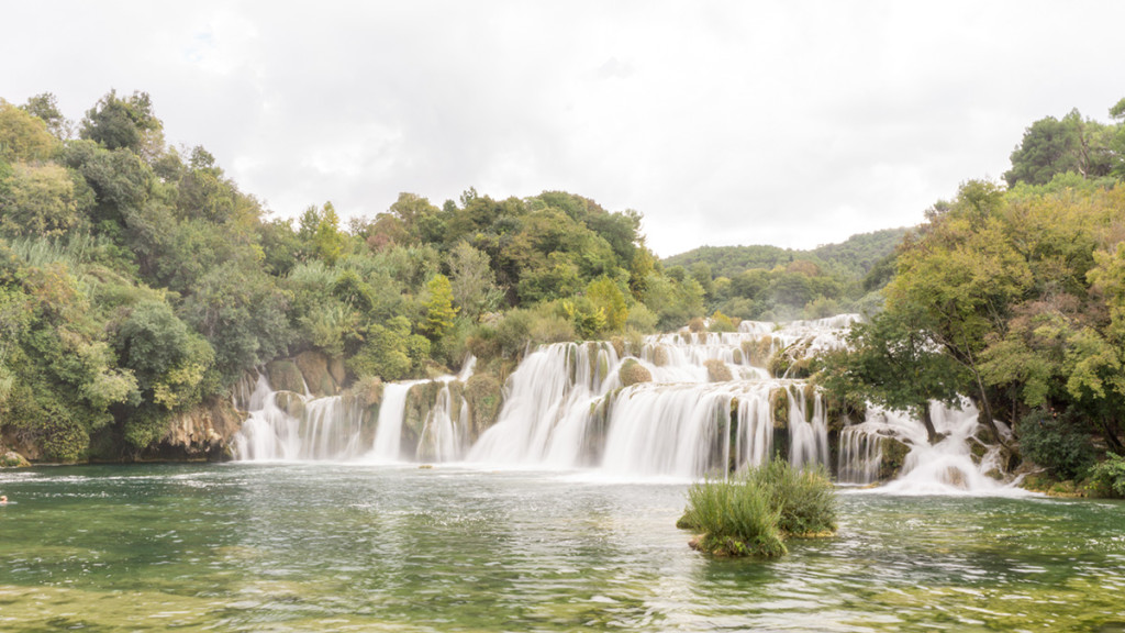We swam a bit near this waterfall at Krka National Park.