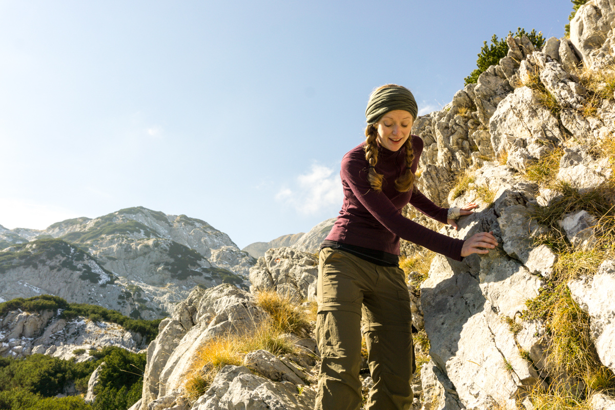 Navigating the sharp rocks on our hike through Durmitor