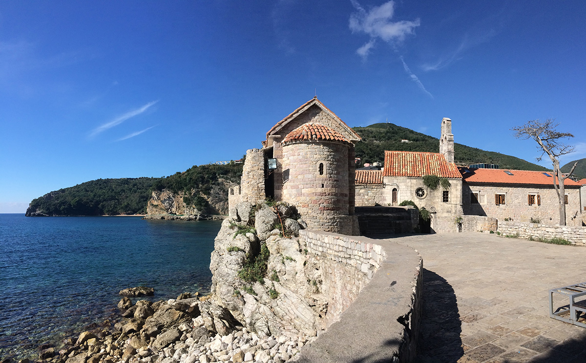 "We stopped for lunch in the beach town of Budva, deserted of tourists since we're now in the ""off"" season."