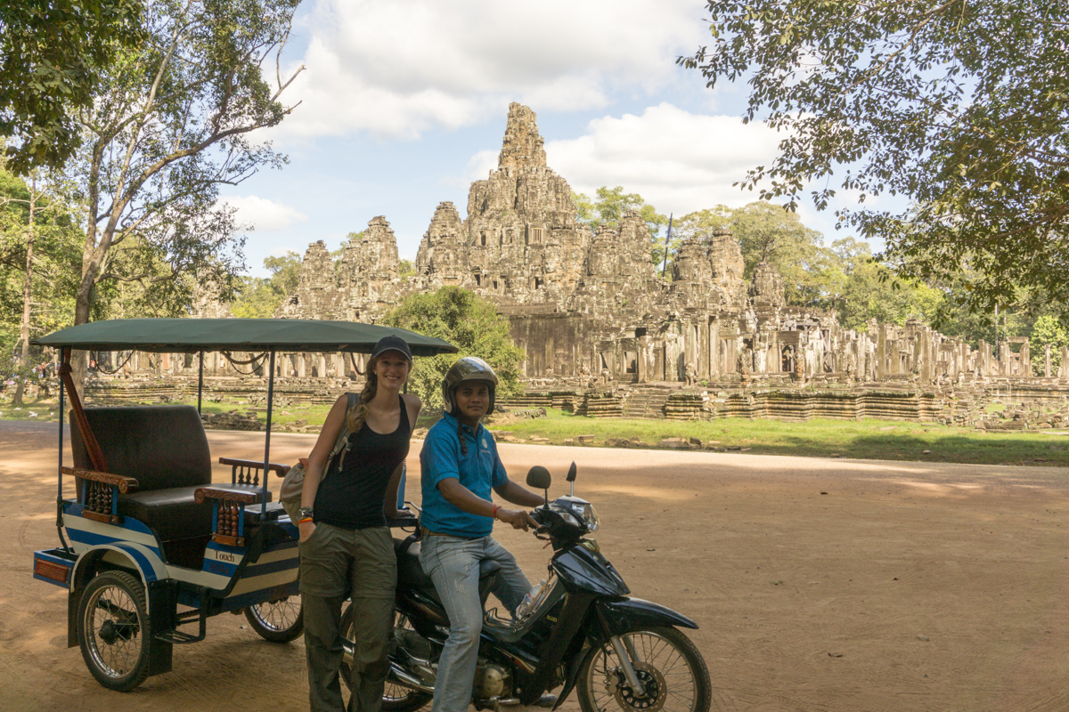 Since we spent most of our week with him, here is our patient and wonderful driver in front of Bayon!