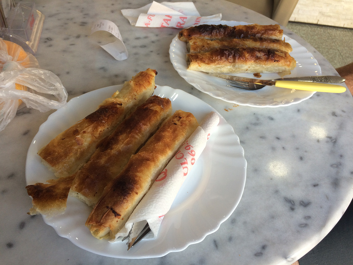 We loved eating the local speciality: burek. Pastries filled with meat or cheese!