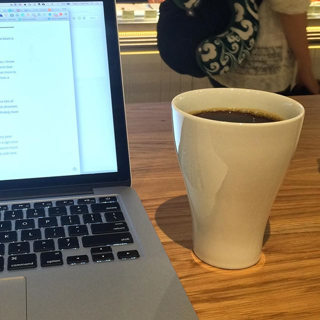 At a cafe in the Moscow Airport writing up tech suggestions.